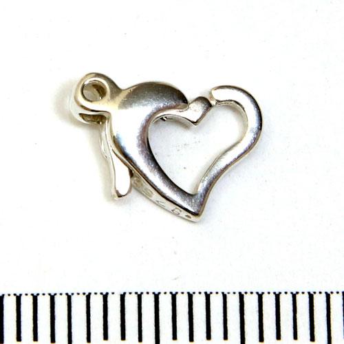 Karbinhake hjärtformad sterling silver