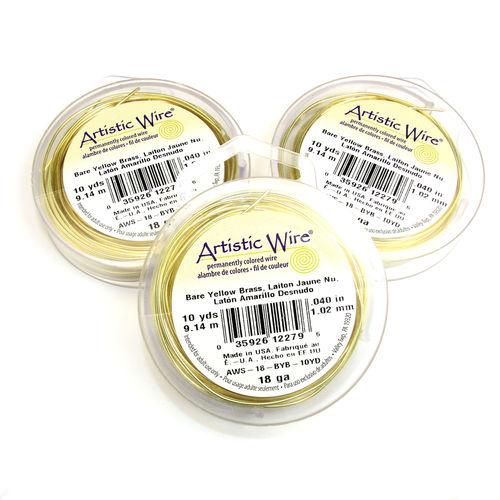 Artistic Wire 1,0 mm bare yellow brass (gul mässing)