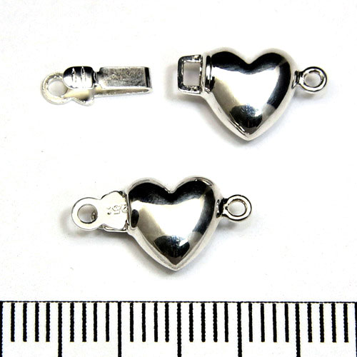 Instickslås hjärta 9 mm sterling silver