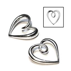 Berlock/länk hjärta 11 mm sterling silver