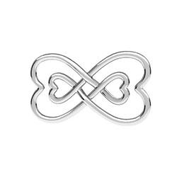 Länk evighetssymbol med hjärtan 20 mm sterling silver