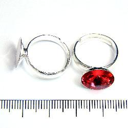 Ring i varierbar storlek med hållare för 12 mm rivoli sterling silver