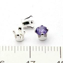 Snäppinfattning för runda 4 mm stenar sterling silver