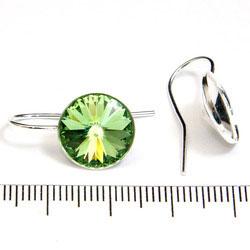 Örkrok med hållare för 12 mm rivoli sterling silver