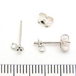 Örstickare med 3 mm kupa, pigg och ögla sterling silver