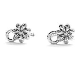 Örstickare med blomma och sluten ring sterling silver