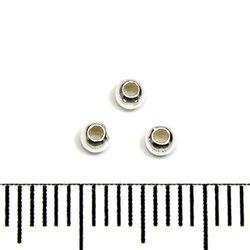 Slät skarvlös silverpärla 2,5 mm hål 1,2 mm