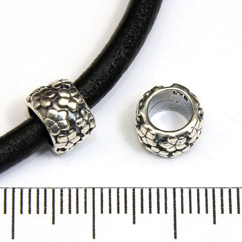 Blommig pärla med 5 mm hål sterling silver - Utgående vara