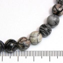 Pärlor i black silk stone 8 mm