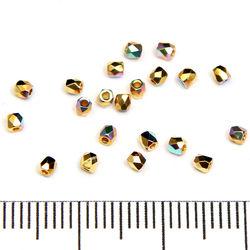 Tjeckiska firepolished true 2 mm crystal gold plated AB