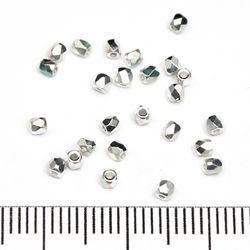 Tjeckiska firepolished true 2 mm crystal fine silver plated AB