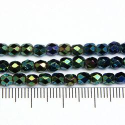 Tjeckiska firepolished 4 mm green iris