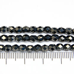 Tjeckiska firepolished 4 mm hematite