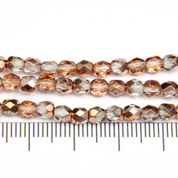 Tjeckiska firepolished 4 mm crystal gold
