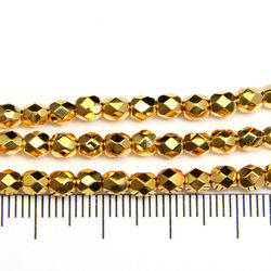 Tjeckiska firepolished 4 mm 24K gold plated