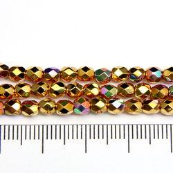 Tjeckiska firepolished 4 mm 24K gold plated AB