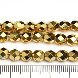 Tjeckiska firepolished 6 mm bright gold