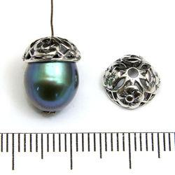 Pärlhatt 8 mm med blommor sterling silver