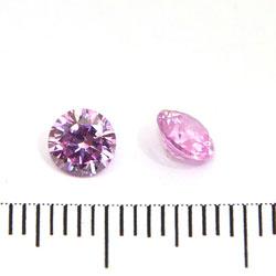 Cubic zircon rund rosa (blåtonad) 5 mm