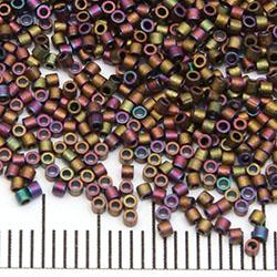 15/0 Miyuki Delica matte metallic red grey dusk / gold iris (1055)
