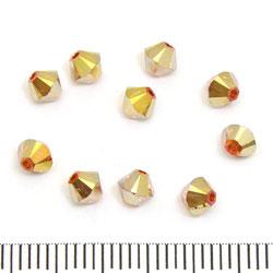 Swarovski Xilion bicone 4 mm crystal metallic sunshine 2x (klar med guldorange lyster på båda halvor)