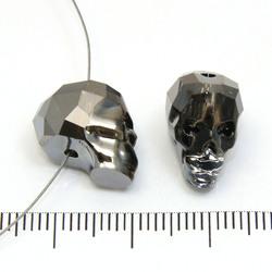 Swarovski Skull (5750) 14 x 13 x 10 mm dödskalle pärla Crystal silver night (klar/mörk silvermetallic) - Utgående vara