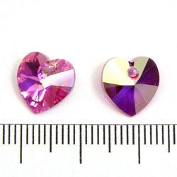 Swarovski Xilion heart 10 mm hänge rose AB (rosa med lyster)