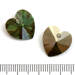 Swarovski Xilion Heart 14 mm Peridot Bronze Shade