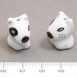 Vit hund i porslin c:a 18 mm