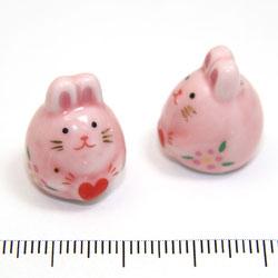 Rosa kanin i porslin c:a 19 mm - Utgående vara