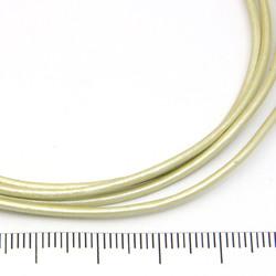 Fyndparti: Ljusgrönt metallic läderband 1,5 mm ca 8 m