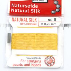 Pärlsilke gul storlek 6