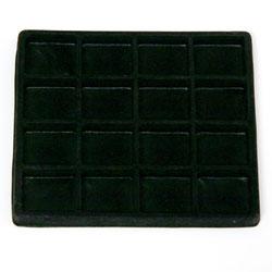 Inredning för liten bricka 16 fack svart plast med flockad yta